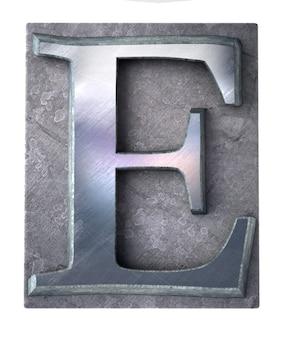 Rendu 3d d'une lettre e majuscule en impression dactylographiée métallique