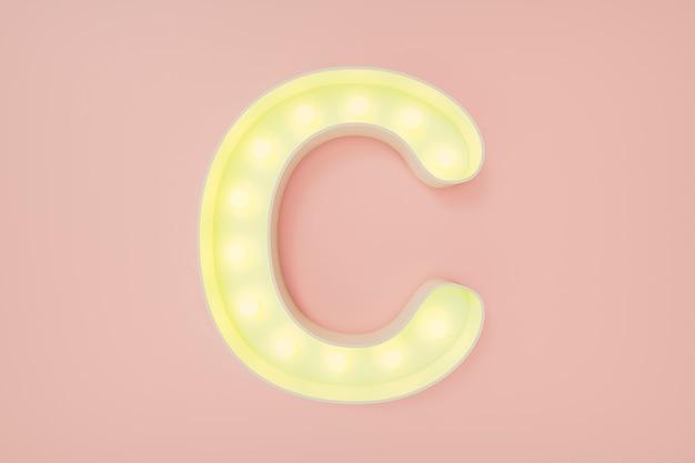 Rendu 3d. la lettre majuscule c avec des ampoules.