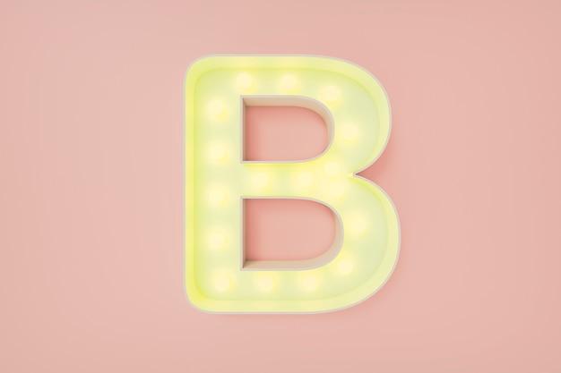 Rendu 3d. la lettre majuscule b avec des ampoules.