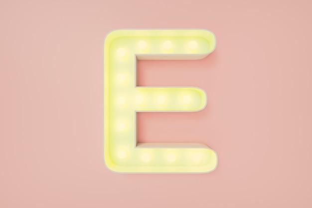 Rendu 3d. la lettre majuscule e avec des ampoules.