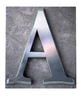 Rendu 3d d'une lettre majuscule a en impression dactylographiée métallique