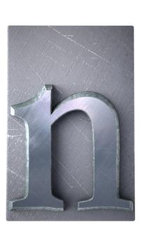 Rendu 3d d'une lettre n en impression dactylographiée métallique