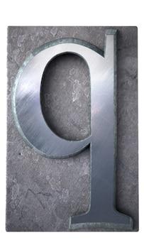 Rendu 3d d'une lettre q en impression dactylographiée métallique
