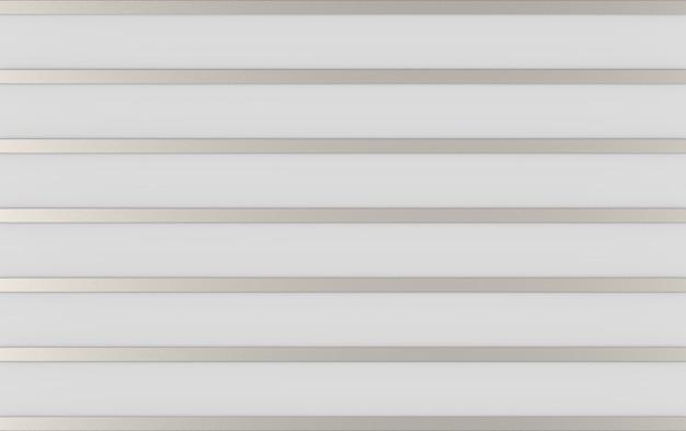 Rendu 3d. ligne abstraite de barres d'argent long métal sur fond de mur gris.