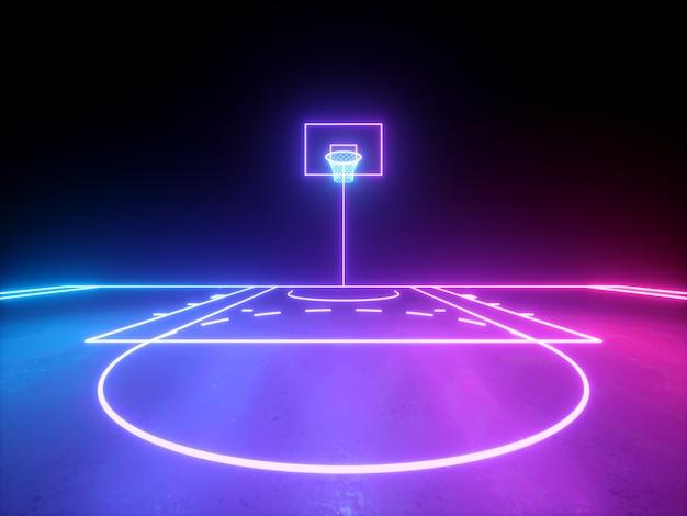 Rendu 3d de lignes néon rougeoyantes bleu violet rose vue frontale du panier de basket-ball