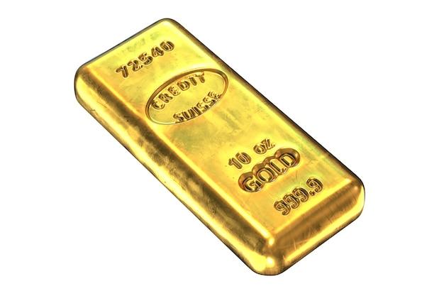 Rendu 3d de lingot d'or isolé