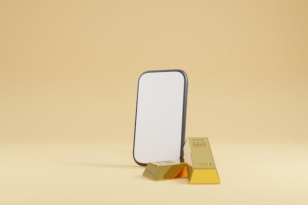Rendu 3d, lingots d'or avec smartphone sur l'arrière-plan
