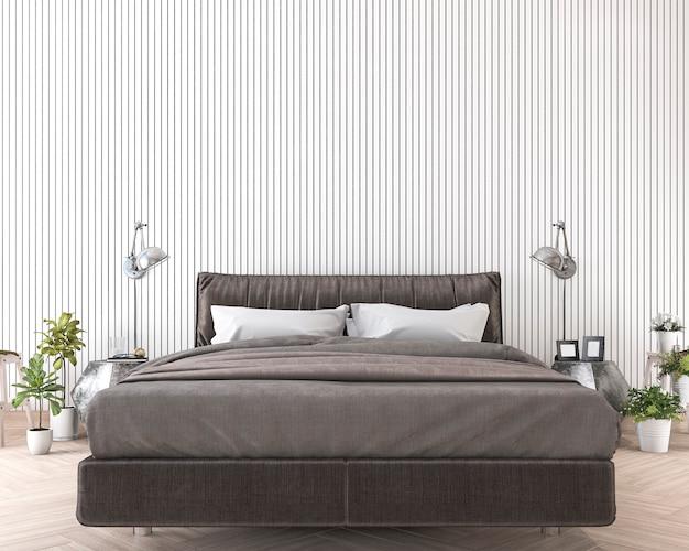 Rendu 3d lit doux et confortable près du mur de bois blanc