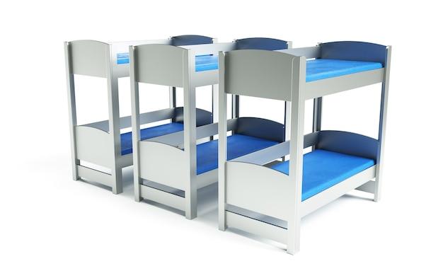Rendu 3d de lit superposé sur fond blanc
