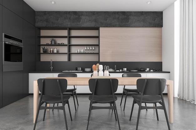 Rendu 3d loft bois noir salle à manger et cuisine