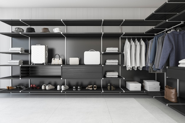 Rendu 3d loft moderne noir promenade dans le placard avec chemise et robe