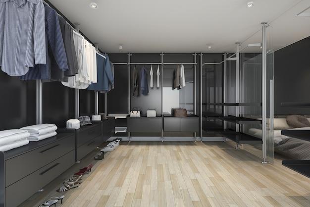 Rendu 3d loft sombre promenade dans le placard et le salon