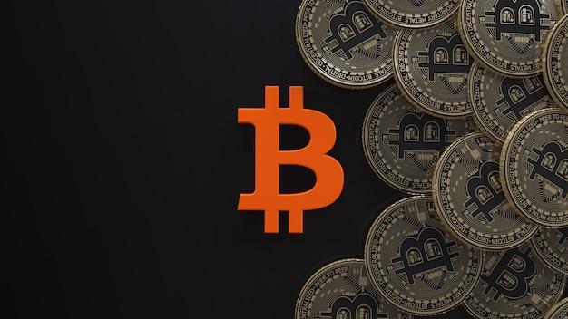 Rendu 3d d'un logo bitcoin et quelques bitcoins métalliques sur fond noir