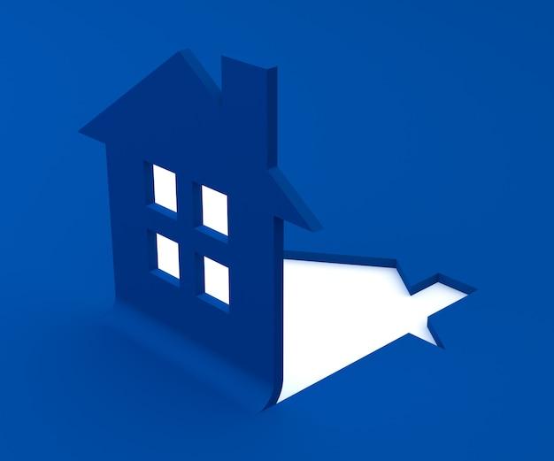 Rendu 3d de logo maison bleu plat
