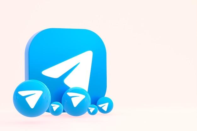 Rendu 3d de logo minimal de télégramme bouchent pour le modèle de fond de conception