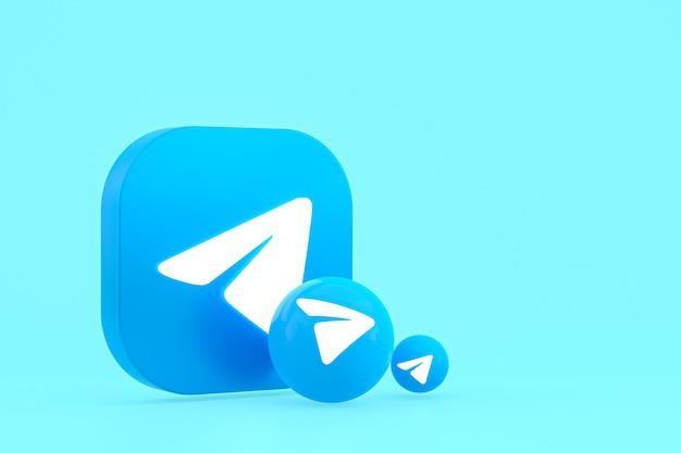 Rendu 3d de logo minimal de télégramme se bouchent pour le modèle d'arrière-plan de conception