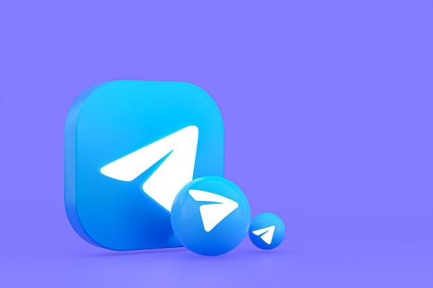 Rendu 3d de logo minimal de télégramme se bouchent pour le modèle de fond de conception