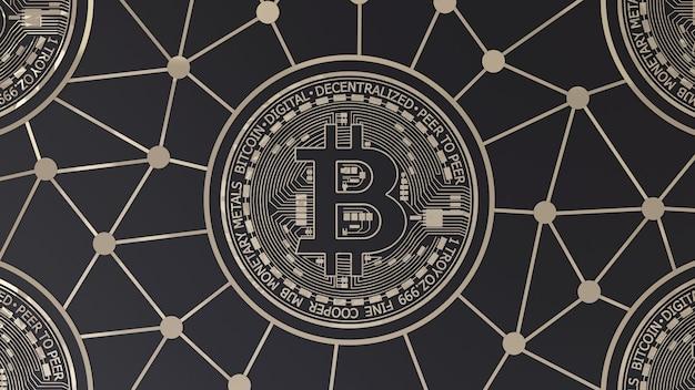 Rendu 3d d'un logo or bitcoin sur fond noir