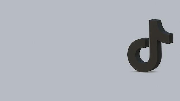 Rendu 3d logo tik tok noir sur bannière de fond gris avec espace de copie