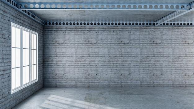Rendu 3d de la loi en béton et poutre en acier de construction
