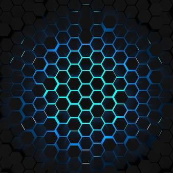 Rendu 3d lumière bleue vue de dessus de fond d'hexagone