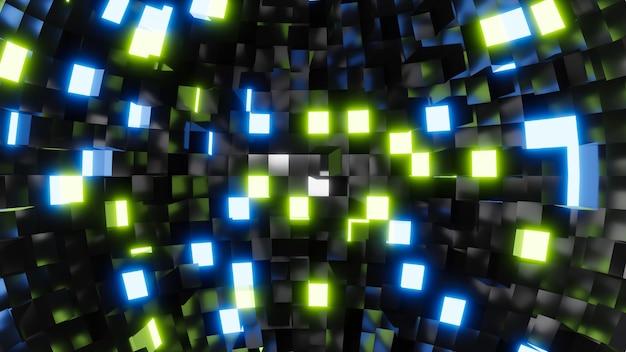 Rendu 3d lumière lueur carré sur fond noir.
