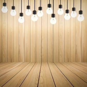 Le rendu 3d des lumières scintillantes sur fond de bois vide