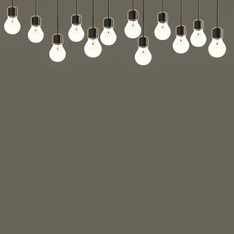 Le rendu 3d des lumières scintillantes sur fond gris vide