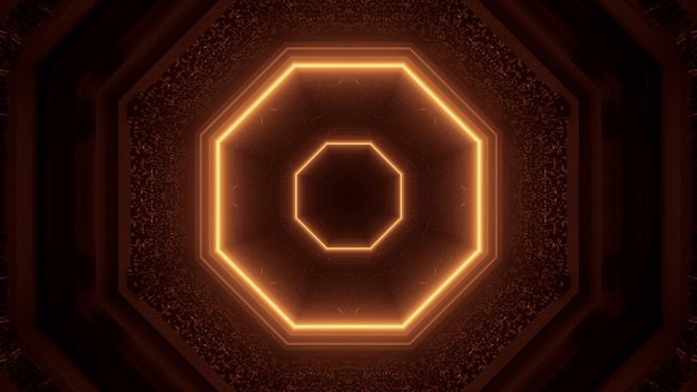Rendu 3d des lumières techno de science-fiction futuristes - un fond cool