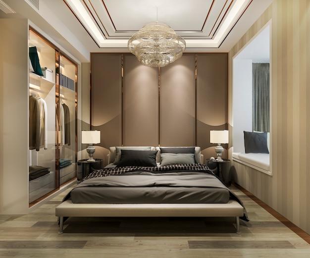 Rendu 3d luxe moderne chambre suite à l'hôtel avec penderie et dressing