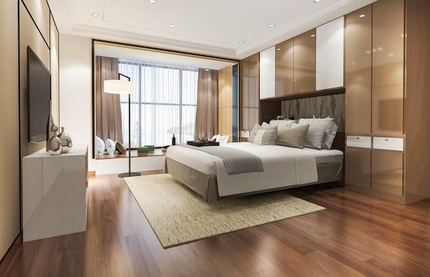 Rendu 3d luxe moderne chambre suite à l'hôtel