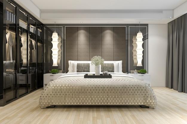 Rendu 3d luxe moderne chambre suite tv avec penderie et dressing