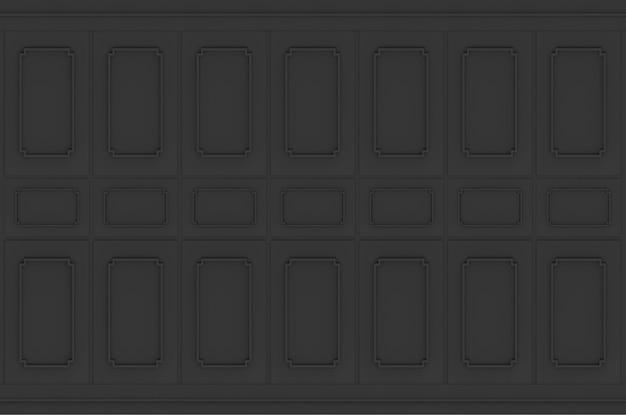 Rendu 3d. luxe noir classique motif carré bois design vintage fond de texture de mur.