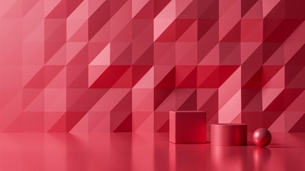 Rendu 3d luxe nouveau fond abstrait couleur rouge, illustration 3d