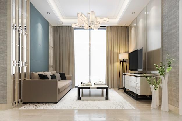 Rendu 3d de luxe et salon moderne avec canapé en tissu