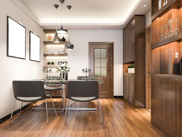 Rendu 3d luxe et salon moderne près de la cuisine