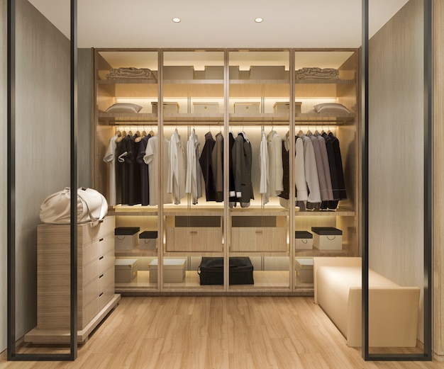 Rendu 3d luxe scandinave en bois promenade dans le placard avec penderie