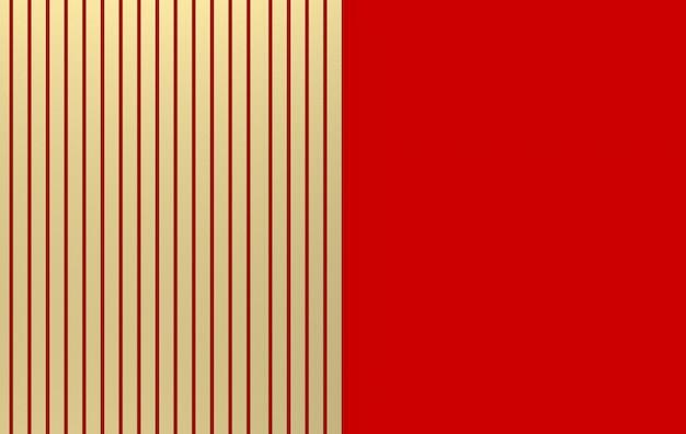 Rendu 3d. luxueuses barres parallèles d'or sur fond de mur rouge.
