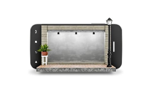 Rendu 3d magasin vide isolé sur smartphone sur fond blanc magasin sur concept mobile
