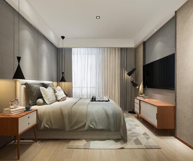 Rendu 3d magnifique loft minimal vintage chambre