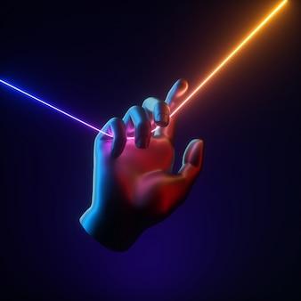 Le rendu 3d de la main artificielle contient une ligne lumineuse au néon coloré et vibrant