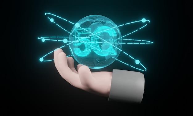 Rendu 3d. main de dessin animé tenant la carte du monde 5g présent d'hologramme sur fond noir. le concept de réseau de communication