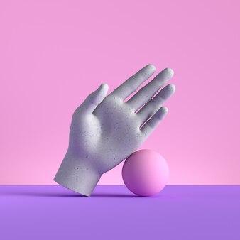 Rendu 3d de la main et du ballon de mannequin