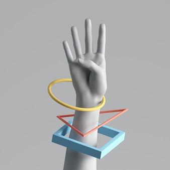 Rendu 3d de la main féminine artificielle blanche avec des bracelets géométriques colorés.