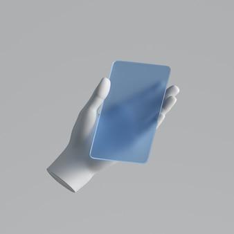 Rendu 3d, main de mannequin blanc tenant un téléphone intelligent en verre bleu, appareil électronique isolé sur fond blanc.
