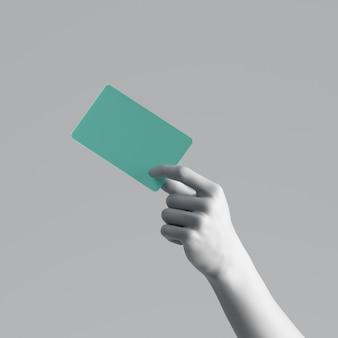 Rendu 3d, main de mannequin tenant une carte en plastique vert vierge ou un billet de passe isolé sur fond blanc.