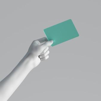 Rendu 3d, main de mannequin tenant une carte de verre à la menthe vierge ou billet de passe isolé sur fond blanc.