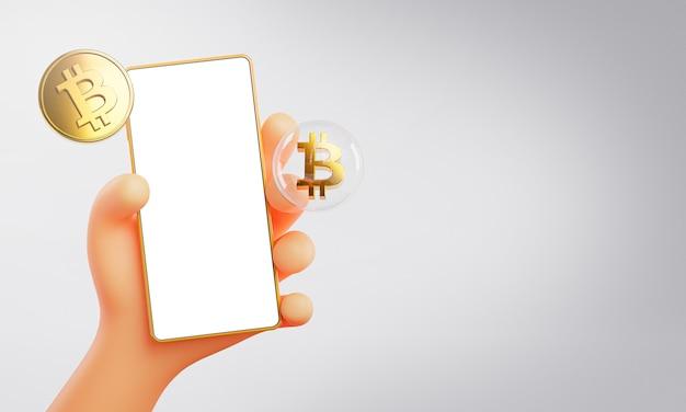 Rendu 3d de main mignonne tenant le modèle de maquette de bitcoin de téléphone