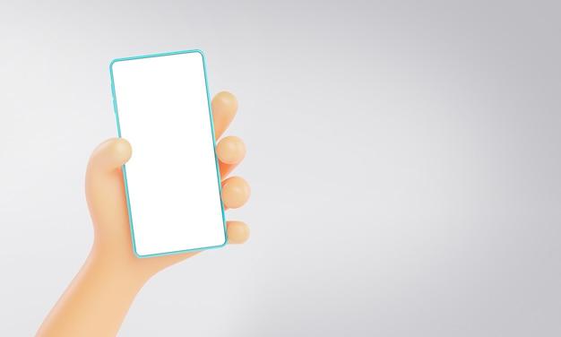 Rendu 3d de main mignonne tenant le modèle de maquette de téléphone