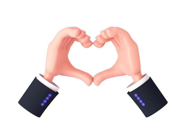 Rendu 3d, mains de dessin animé avec des manches faisant un geste de coeur avec les doigts serrés ou montrant l'amour